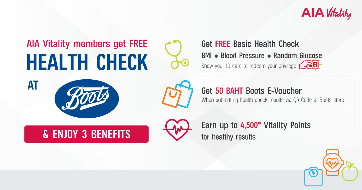 Get FREE Health Check PLUS THB 50 Boots e-Voucher!
