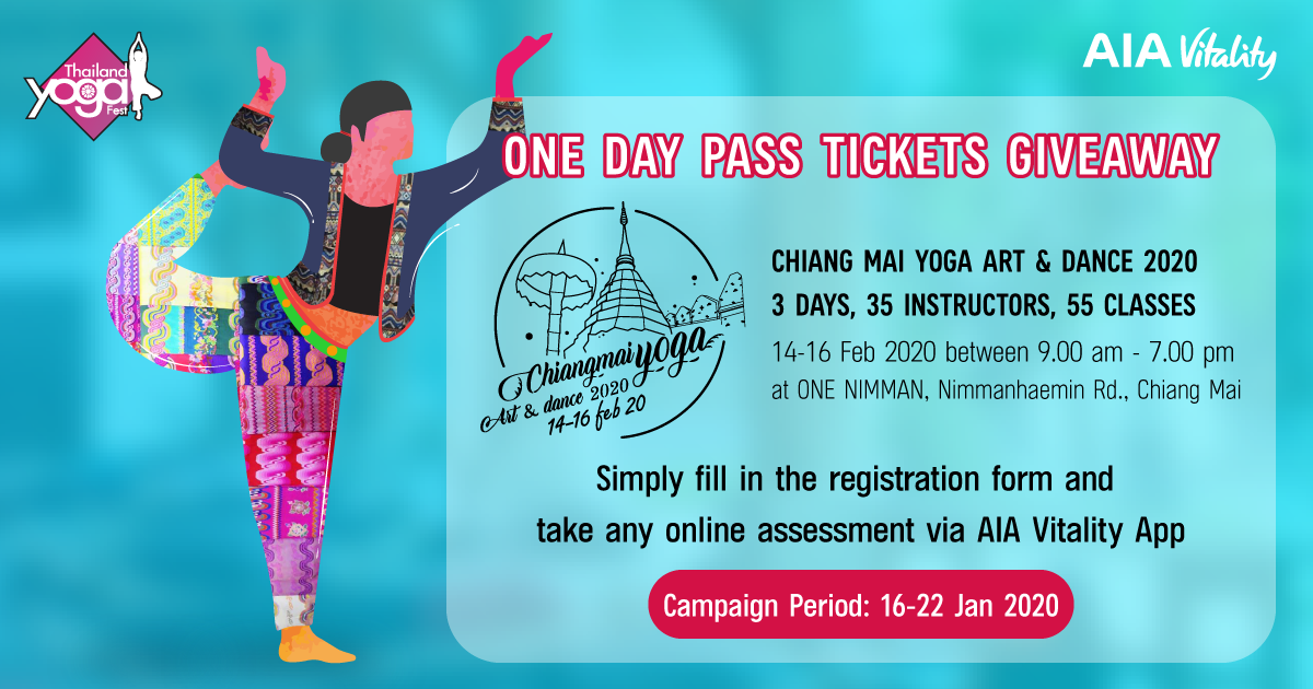 One Day Pass Tickets Giveaway for Chiang Mai Yoga Art & Dance 2020