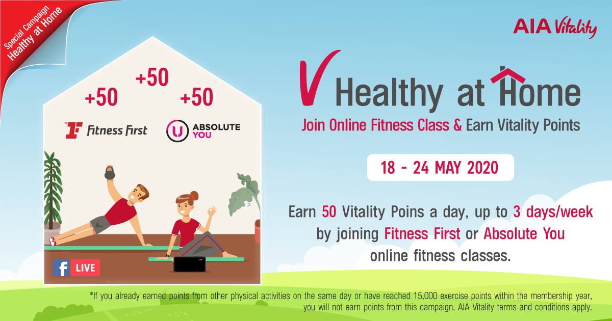 V Healthy at Home: Join Online Fitness Class by Fitness First or Absolute U and Earn 50 Vitality Points a Day, 3 days/ week.