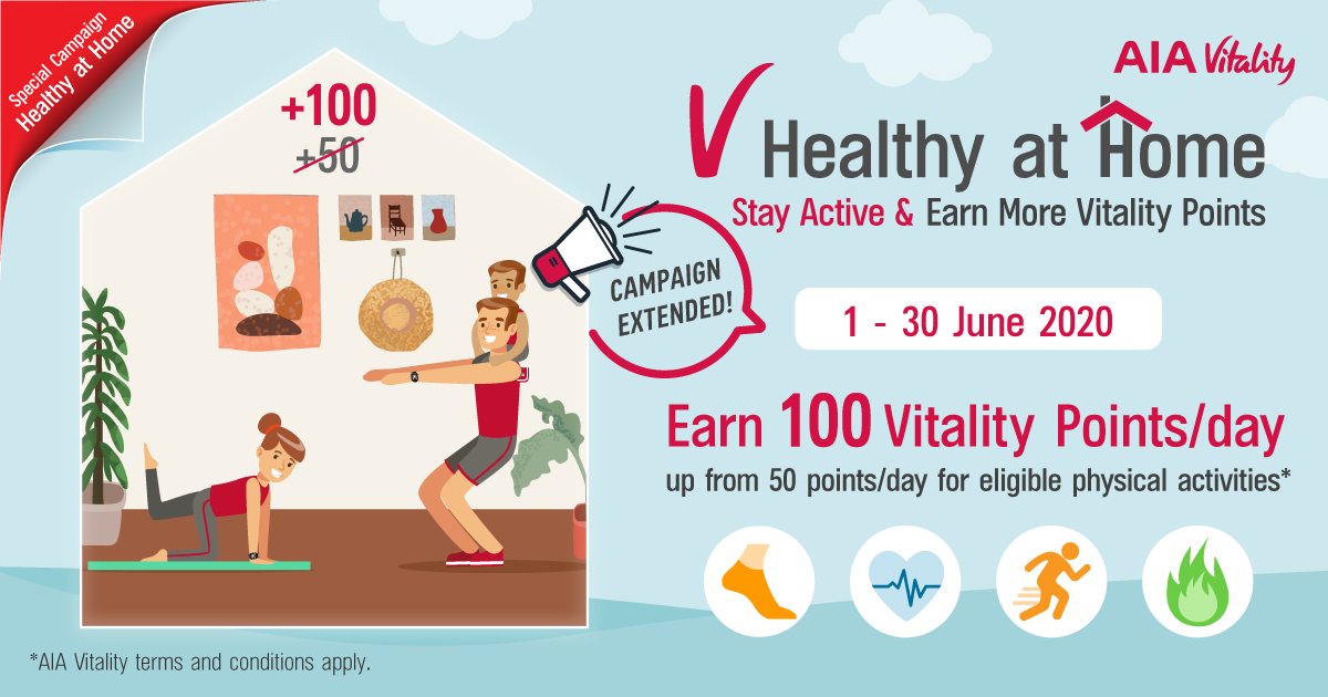Campaign Extended! Stay Active and Earn 100 Exercise Points A Day This June 2020.