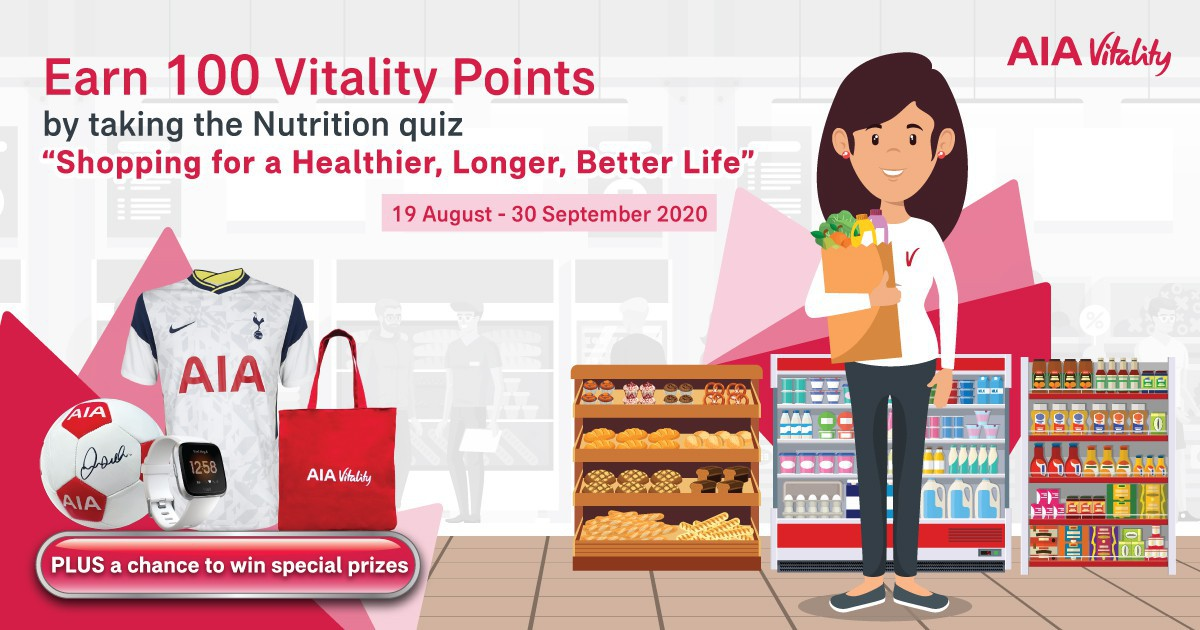 "Earn 100 Vitality Points by Taking a Quiz on ""Shopping for a Healthier, Longer, Better Life"" and Get a Chance to Win a Special Prize."