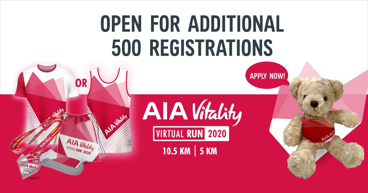 Open registration for the AIA Vitality Virtual Run 2020