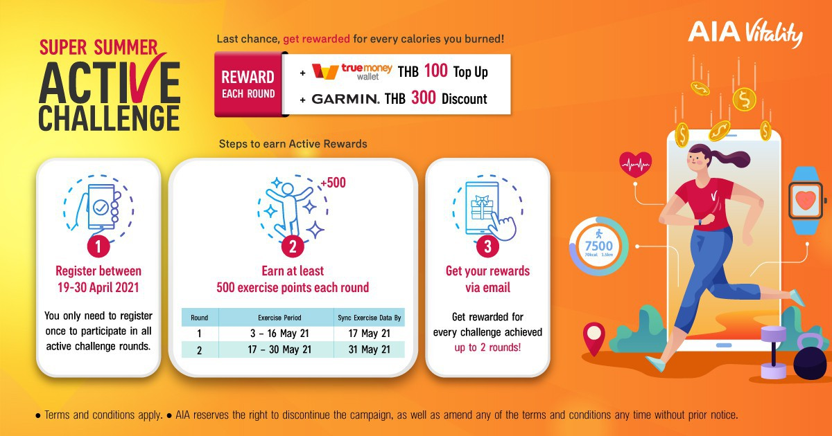AIA Vitality Super Summer Active Challenge: Get Rewarded for Every Calories You Burned!