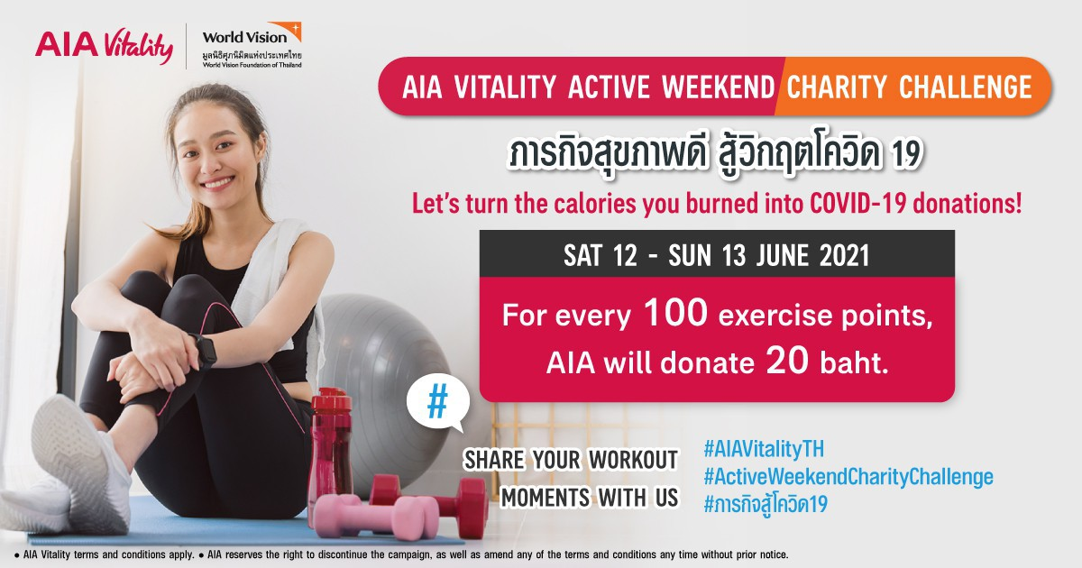 AIA Vitality Active Weekend Charity Challenge. Let's Turn Exercise Points into COVID-19 Relief Donations