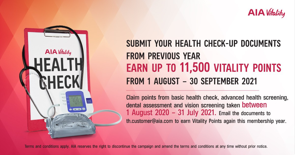 Earn Vitality points from health check-up documents  up to 2 membership years