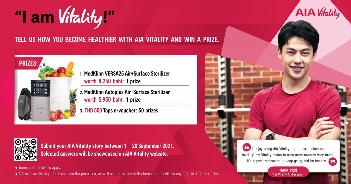 """""""I am Vitality!"""" Share your AIA Vitality story and win special prizes: Medklinn Air+Surface Sterilizers and Tops e-Vouchers, totaling 52 prizes."""